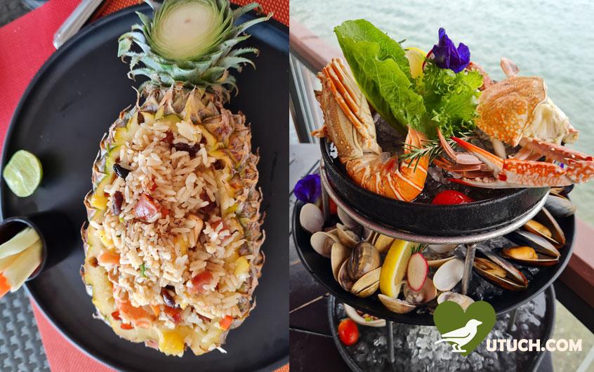 มื้อเที่ยงที่ห้องอาหารริมทะเล อิ่มกับ ชุดซีฟู้ด และ ข้าวผัดภูเก็ต